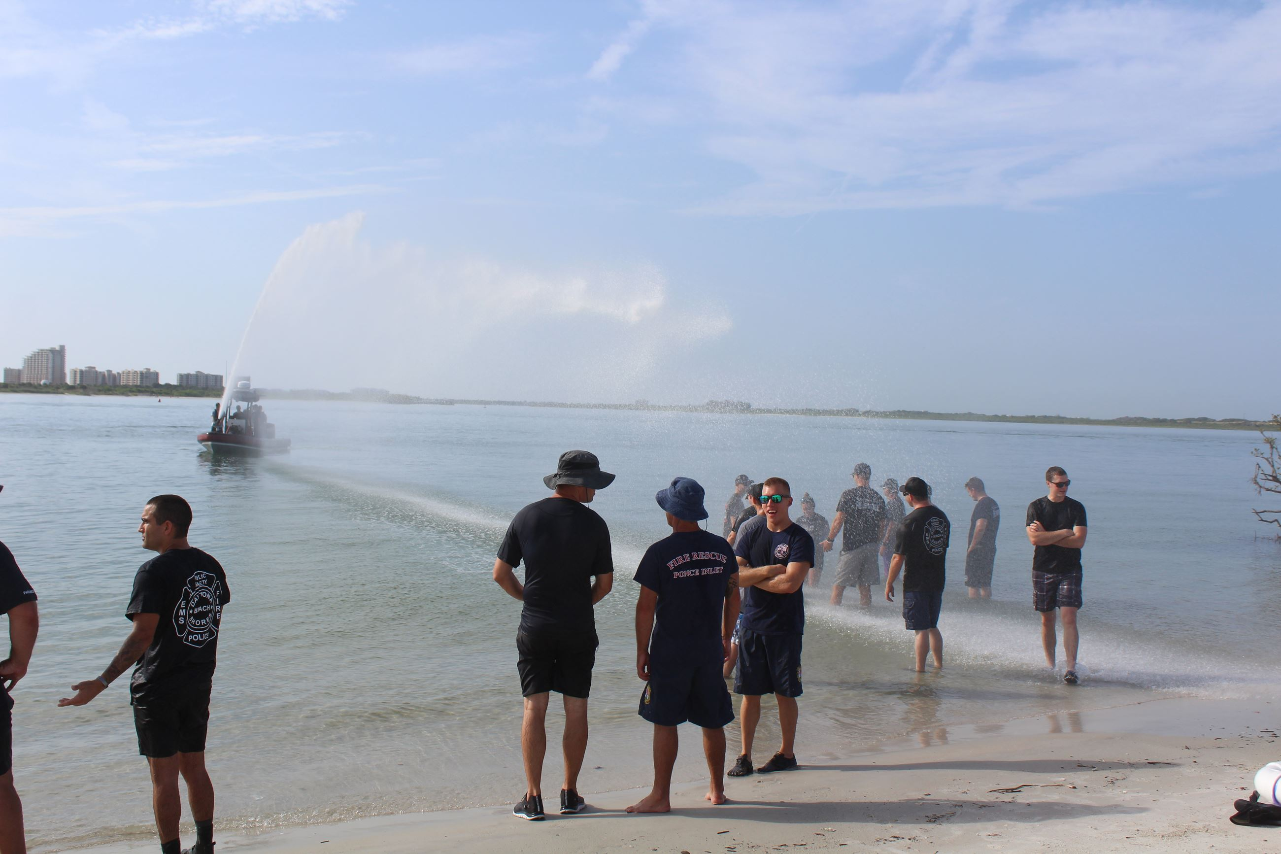 Boat spraying class with water